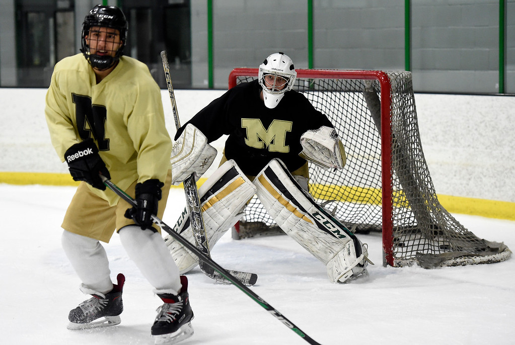 . SUPERIOR, CO - NOVEMBER 28, 2018: Monarch High School goalie Dylan Sheets protects the goal during practice on Wednesday at the Sports Stable in Superior. More photos: BoCoPreps.com Jeremy Papasso/ Staff Photographer