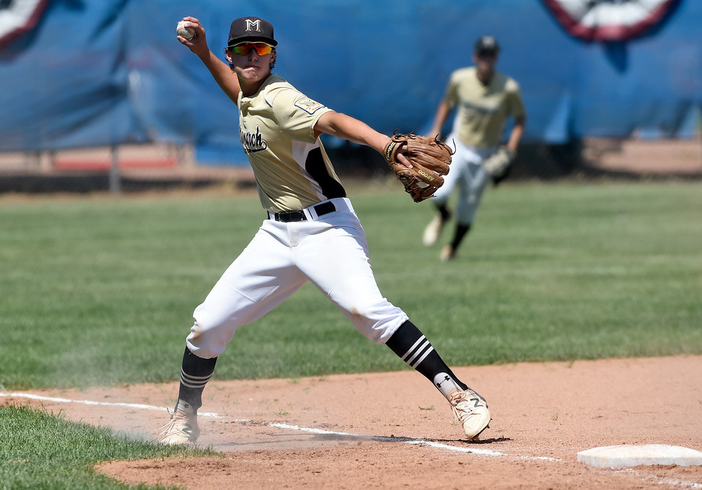 . Monarch\'s Dave Fish makes a throw from third base to first for an out during a NIT tournament game against the Impact on Wednesday at Centaurus High School in Lafayette. More photos: BoCoPreps.com Jeremy Papasso/ Staff Photographer 07/11/2018