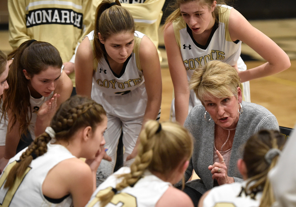 . LOUISVILLE, CO - FEBRUARY 19, 2019: Monarch High School Head Coach Gail Hook talks with her team during a playoff game against Cherokee Trail on Tuesday in Louisville. More photos: BoCoPreps.com (Photo by Jeremy Papasso/Staff Photographer)