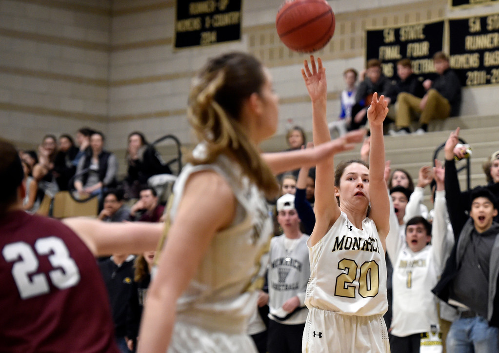 . LOUISVILLE, CO - FEBRUARY 19, 2019: Monarch High School\'s Anna Trujillo takes a shot during a playoff game against Cherokee Trail on Tuesday in Louisville. More photos: BoCoPreps.com (Photo by Jeremy Papasso/Staff Photographer)