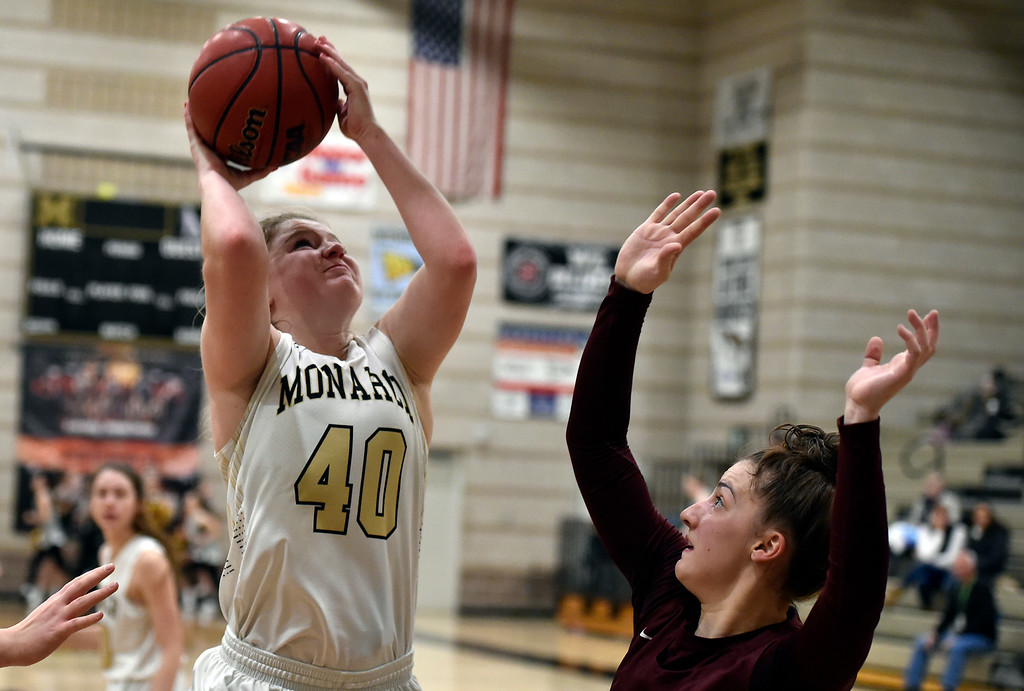 . LOUISVILLE, CO - FEBRUARY 19, 2019: Monarch High School\'s Emerson Herrmann takes a shot during a playoff game against Cherokee Trail on Tuesday in Louisville. More photos: BoCoPreps.com (Photo by Jeremy Papasso/Staff Photographer)