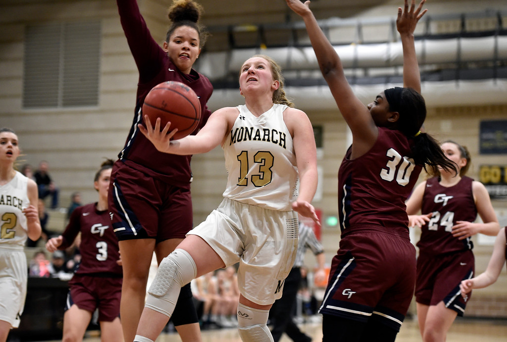 . LOUISVILLE, CO - FEBRUARY 19, 2019: Monarch High School\'s Nicole Reading drives to the hoop during a playoff game against Cherokee Trail on Tuesday in Louisville. More photos: BoCoPreps.com (Photo by Jeremy Papasso/Staff Photographer)