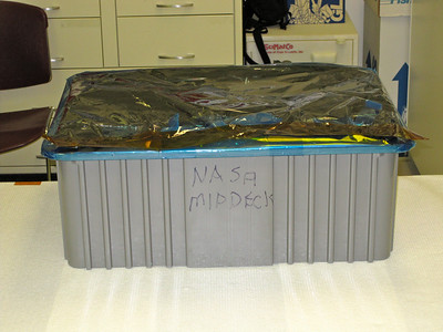 All packed up and ready to go another building where the payload will be placed into a storage locker. Photo by Jim Lovett