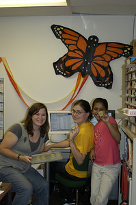 Jesica, Ann, and Toshita - all a part of the Monarch Watch Crew responsible for getting the caterpillars out the door.