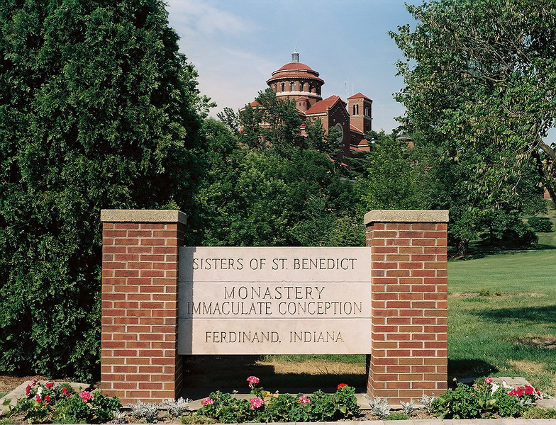 Exterior of the monastery church with Sisters sign marker. Photo by Bill Sheets Photography, Louisville, Kentucky.