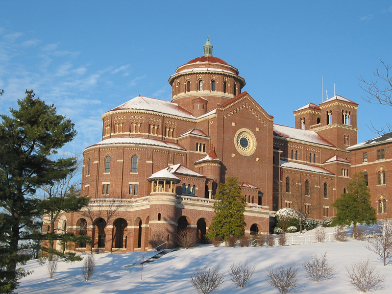 A light sprinkling of snow covers the monastery