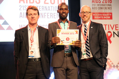 21st International AIDS Conference (AIDS 2016), Durban, South Africa. Monday 18th July 2016, VENUE : Global Village - Main Stage Film Event : Every Footstep Counts Awards (MOCA18) L-R : David Redfern, Andrew Tumuhameho, Owen Ryan Photo©International AIDS Society/Abhi Indrarajan