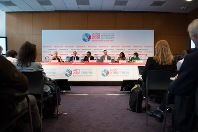 22nd International AIDS Conference (AIDS 2018) Amsterdam, Netherlands   Copyright: Marcus Rose/IAS  Photo shows: Official AIDS 2018 Opening Press Conference. L-R: Linda-Gail Bekker (International Chair). Peter Reiss (Local Chair). Tedros Adhanom Ghebreyesus Director General, World Health Organization. Quinn Tivey Ambassador & Officer, Elizabeth Taylor AIDS Foundation. Mercy Ngulube Activist, CHIVA. Yana Panfilova  Founder of Eurasian Union, and  adolescent and youth  Teenergizer