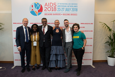 22nd International AIDS Conference (AIDS 2018) Amsterdam, Netherlands   Copyright: Marcus Rose/IAS  Photo shows: Official AIDS 2018 Opening Press Conference. L-R: Peter Reiss (Local Chair). Mercy Ngulube Activist, CHIVA. Tedros Adhanom Ghebreyesus Director General, World Health Organization. Linda-Gail Bekker (International Chair). Quinn Tivey Ambassador & Officer, Elizabeth Taylor AIDS Foundation. Yana Panfilova  Founder of Eurasian Union, and  adolescent and youth  Teenergizer