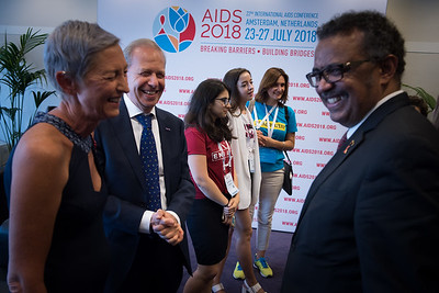 22nd International AIDS Conference (AIDS 2018) Amsterdam, Netherlands   Copyright: Marcus Rose/IAS  Photo shows: Official AIDS 2018 Opening Press Conference. Green Room. Linda-Gail Bekker (International Chair) & Peter Reiss (Local Chair).  Linda-Gail Bekker (International Chair), Peter Reiss (Local Chair) & Tedros Adhanom Ghebreyesus Director General, World Health Organization.