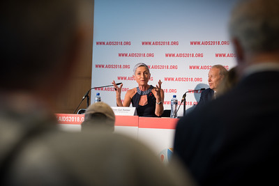 22nd International AIDS Conference (AIDS 2018) Amsterdam, Netherlands   Copyright: Marcus Rose/IAS  Photo shows: Official AIDS 2018 Opening Press Conference. Linda-Gail Bekker (International Chair)