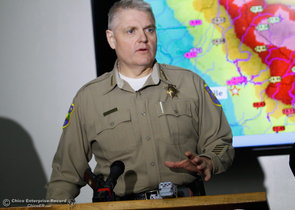 . Butte County Sheriff Kory Honea talks with the media during a press conference February 20, 2017 in Oroville, California. (Emily Bertolino -- Mercury Register)