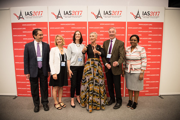 9th IAS Conference on HIV Science (IAS 2017) Paris, France. Copyright: Marcus Rose/IAS  Photo shows: Plenary Press Conference.  Linda-Gail Bekker, IAS 2017 International Scientific Chair  Dan Barouch, Professor of Medicine, Harvard Medical School  Sile Molloy, Epidemiologist and International Project Manager, St George's University of London  Joseph Eron, Professor of Medicine, University of North Carolina at Chapel Hill  Velephi Okello, Deputy Director of Health Services-Clinical Services, Ministry of Health- Swaziland  Karine Lacombe, Associate Professor, Saint-Antoine Hospital, Inserm, France