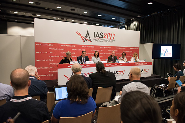 9th IAS Conference on HIV Science (IAS 2017) Paris, France. Copyright: Marcus Rose/IAS  Photo shows: Plenary Press Conference. (L-R) Linda-Gail Bekker, IAS 2017 International Scientific Chair Dan Barouch, Professor of Medicine, Harvard Medical School Sile Molloy, Epidemiologist and International Project Manager, St George's University of London Joseph Eron, Professor of Medicine, University of North Carolina at Chapel Hill Velephi Okello, Deputy Director of Health Services-Clinical Services, Ministry of Health- Swaziland Karine Lacombe, Associate Professor, Saint-Antoine Hospital, Inserm, France