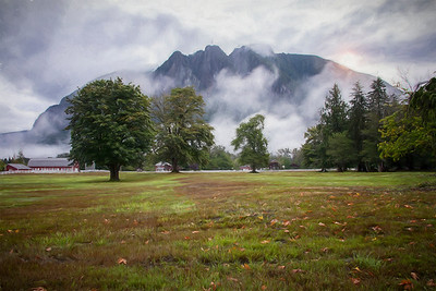 Early fall sunrise Monet Impression Mt Meadows Farm Mt Si background leaves foreground 9-20-17