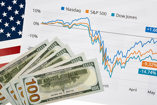 Stock Market Graph with an American Flag and Currency