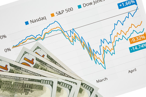 Stock Market Graph with One Hundred Dollar Bills
