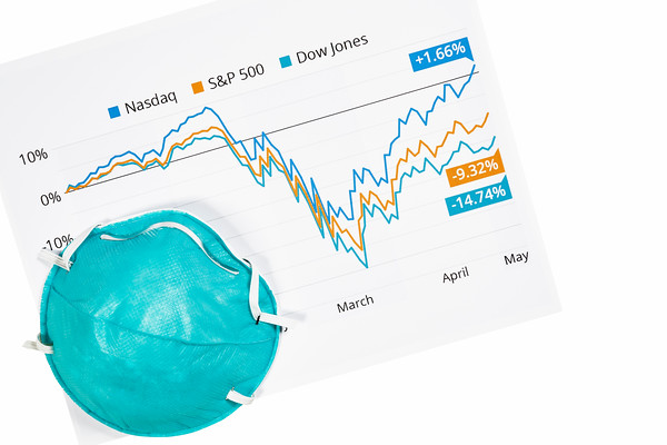 Stock Market Graph and a Face Mask