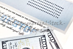 Stock Certificate  with US One Hundred Dollar Bills