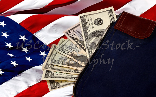 US Currency on American Flag in a Money Bag