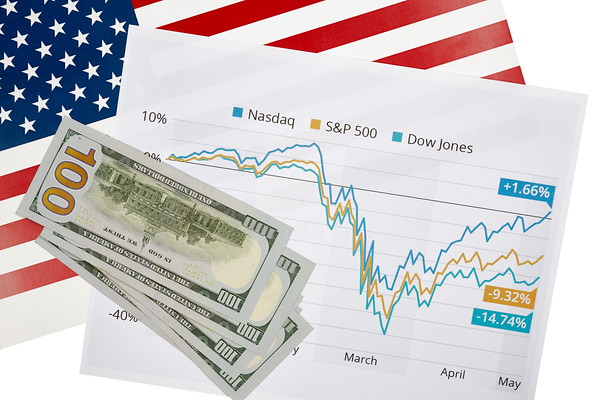 Stock Market Graph with an American Flag
