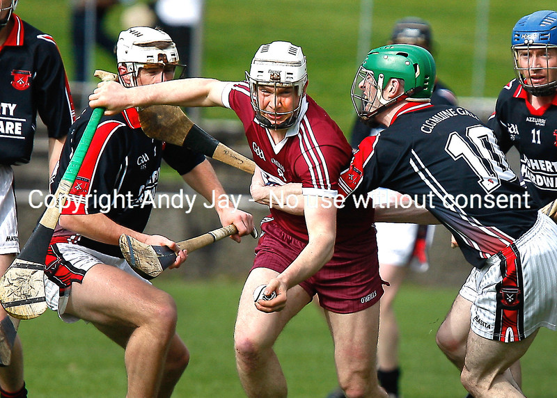 080412 Hibernian Inn Senior Hurling Championships 2012 Moneygall v Borris-ileigh  Brendan Maher Borris-ileigh comes under pressure from Conor Ryan and Moneygall partner during Sunday's clash in Nenagh . Photo Andy Jay.