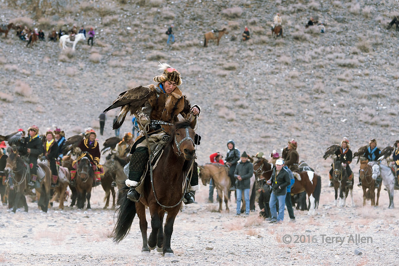 Competitor 5, dark brown horse (best larger)<br /> <br /> Eagle Festival, Olgii, Western Mongolia