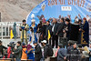 Ceremony to open the Eagle Festival with a famous old eagle hunter on stage, Eagle Festival, Olgii, Western Mongolia