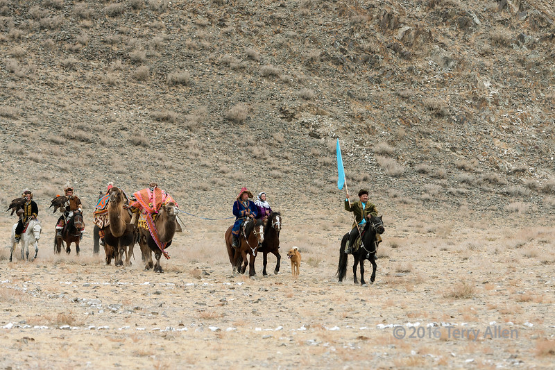 Start of the opening parade with horses, camels, eagles and a dog, Eagle Festival, Olgii, Western Mongolia