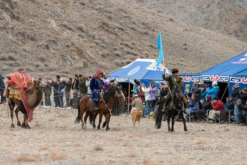 Photographers capturing the opening ceremony, Eagle Festival, Olgii, Western Mongolia
