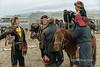 Eagle hunters gathering before the Eagle Festival, Olgii, Western Mongolia