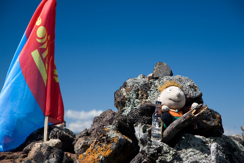 """Our mascot """"wino"""" with his vodka and Mongolian flag"""
