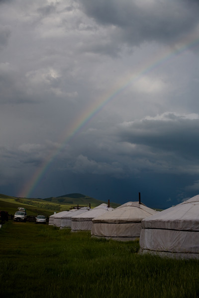 Rainbow over yurts - Tsenkher hot springs