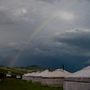 Rainbow over yurts - Tsenkher hot springs