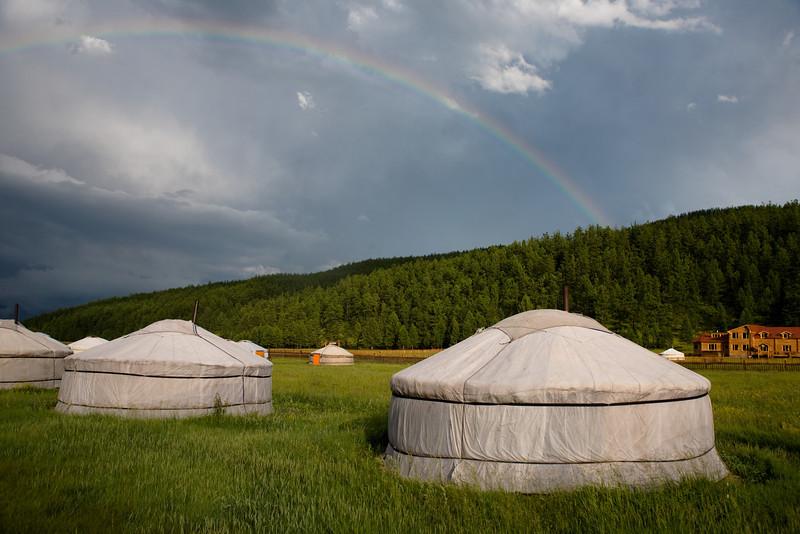 Rainbow over Tsenkher Hot springs