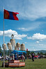 Mongolian flag and yak tail banners on display for the Khatgal Naadam festival.