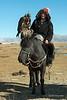 Kazakh eagle hunter with eagle and horse #2, Western Mongolia (best larger)