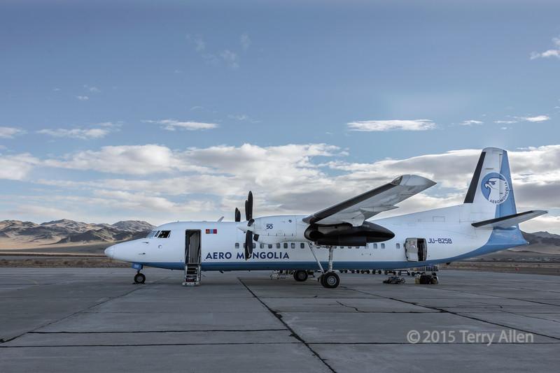 Aero Mongolia prop plane, Olgii Airport, Western Mongolia