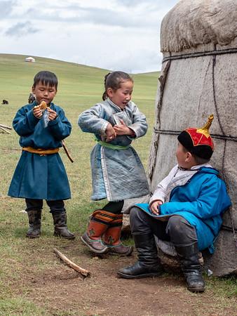 Mongolian children playing