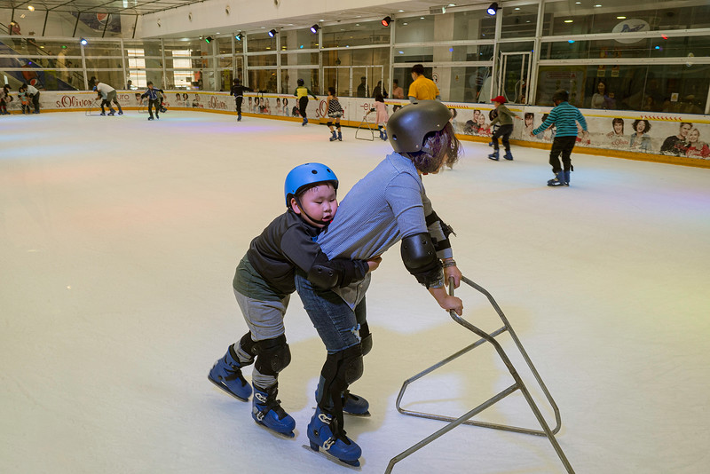 Learning to ice skate in an Ulaanbaatar mall