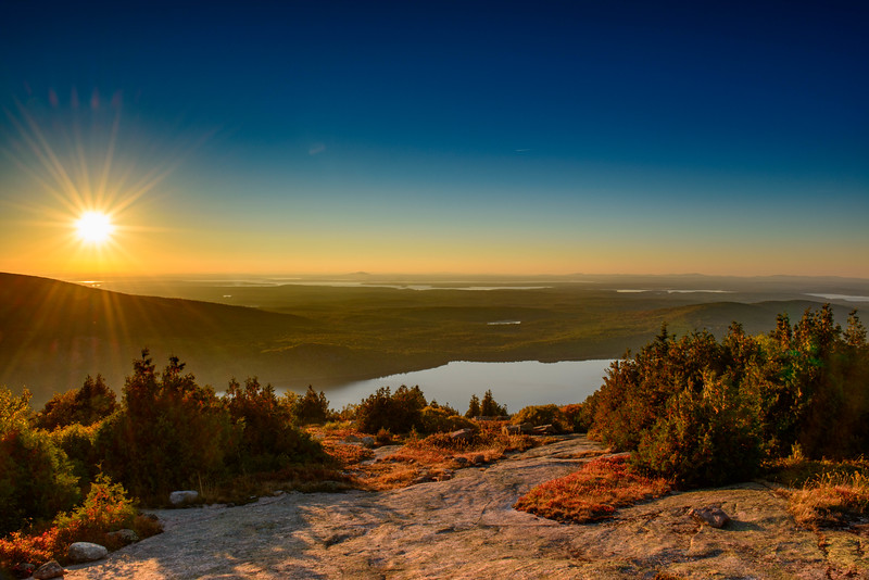 Sunset from Blue Hill Overlook on Cadillac Mountain. Acadia National Park