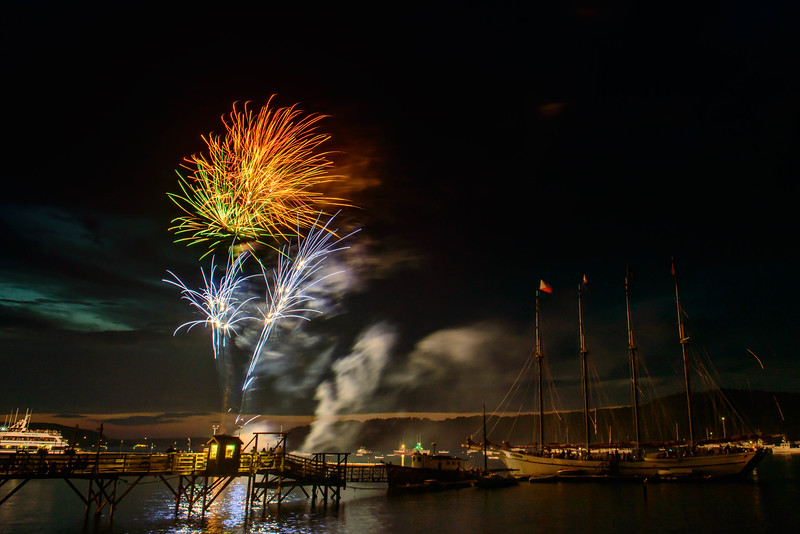 Fireworks Display over Frenchman Bay. Bar Harbor