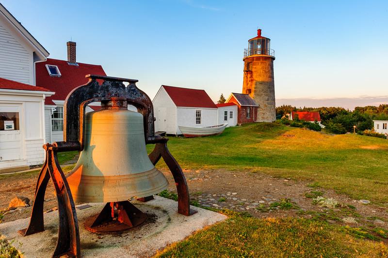 Lighhouse and liberty bell. Monhegan Island