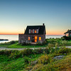 Village at sunset. Monhegan Island, Maine