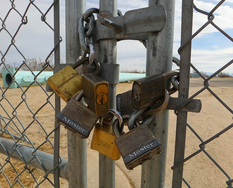 Eight completely useless padlocks.