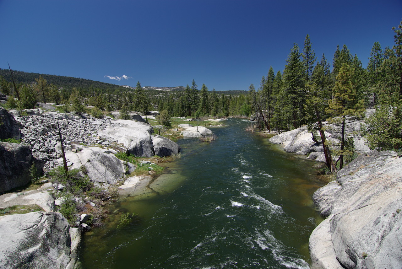 Looking at the South Fork of the San Joaquin River, downstream from the Bridge