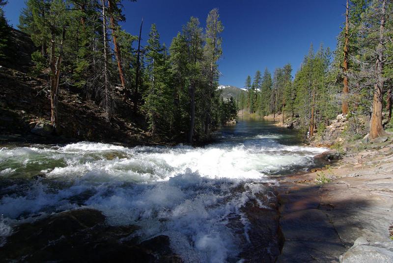 Water rushing into Bear Dam Diversion from Bear Creek