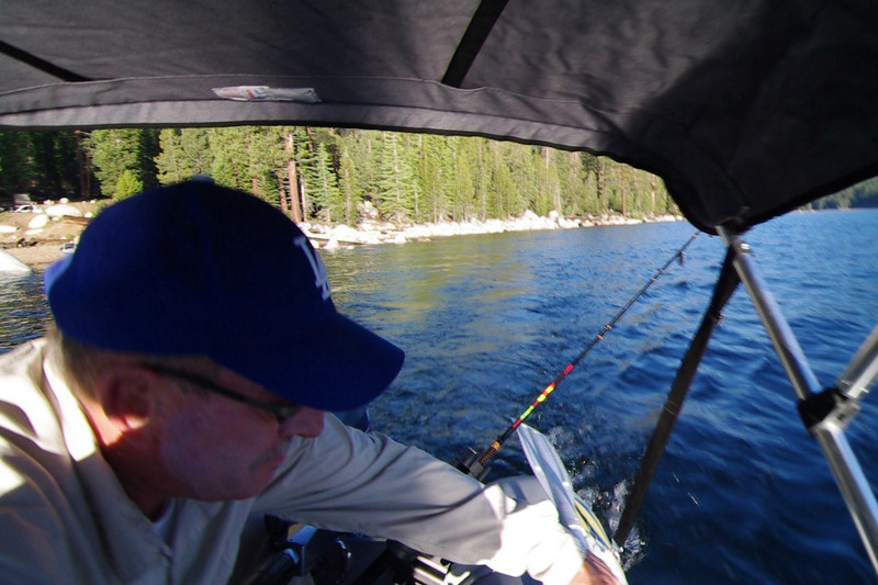 Leaving the boat ramp and venturing out into the lake aboard my Dad's Zodiac.