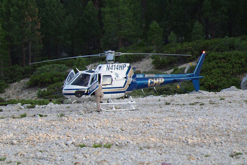 CHP Hellicopter throttles-up.