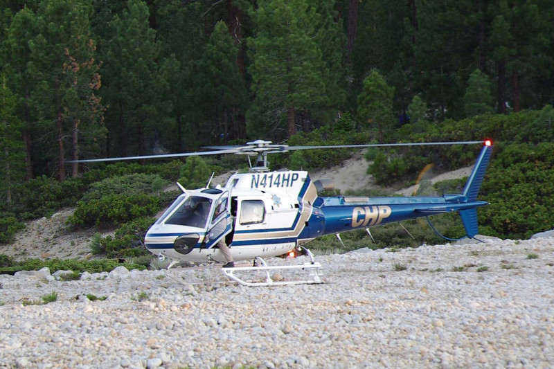 The CHP helicopter throttles-up.